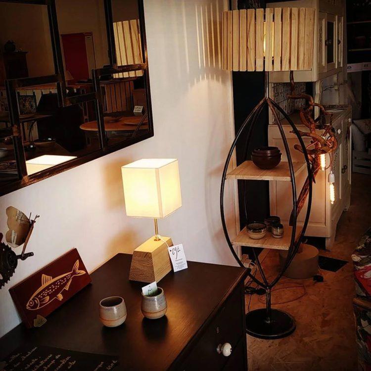 Lampes en bois et fer réalisées par Anthony Hautbois de Bois et Fer Création