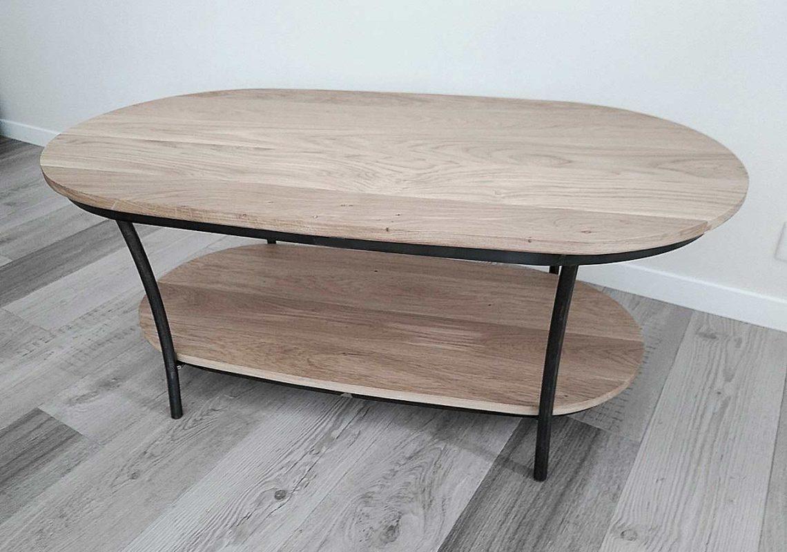 Table basse en bois et fer réalisée par Anthony Hautbois de Bois et Fer Création