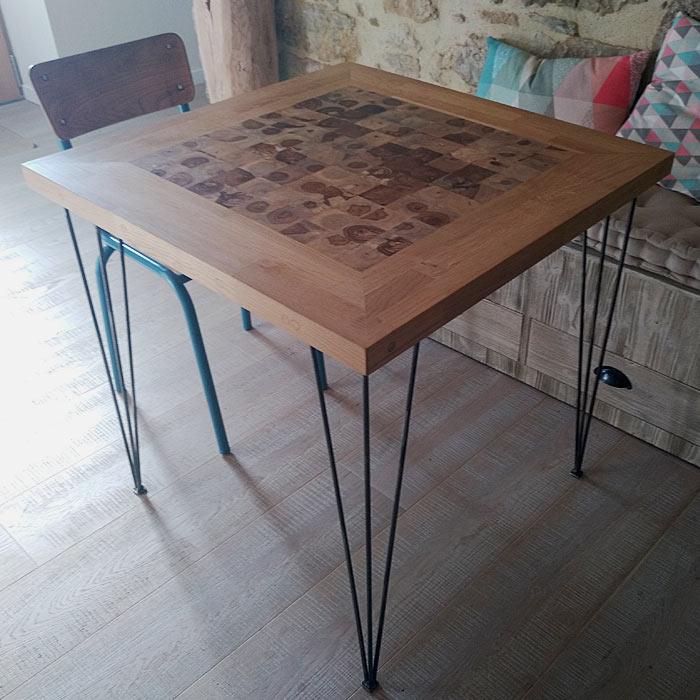 Table de cuisine en bois et fer réalisée par Anthony Hautbois de Bois et Fer Création